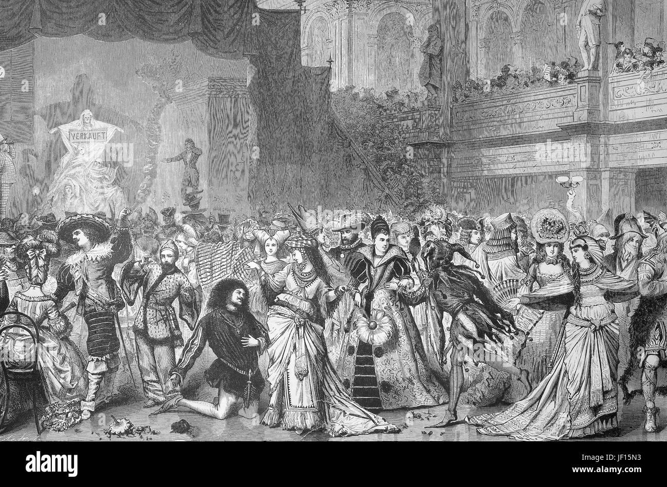 Historische Abbildung der Kostümfest oder fancy dress Party der ...