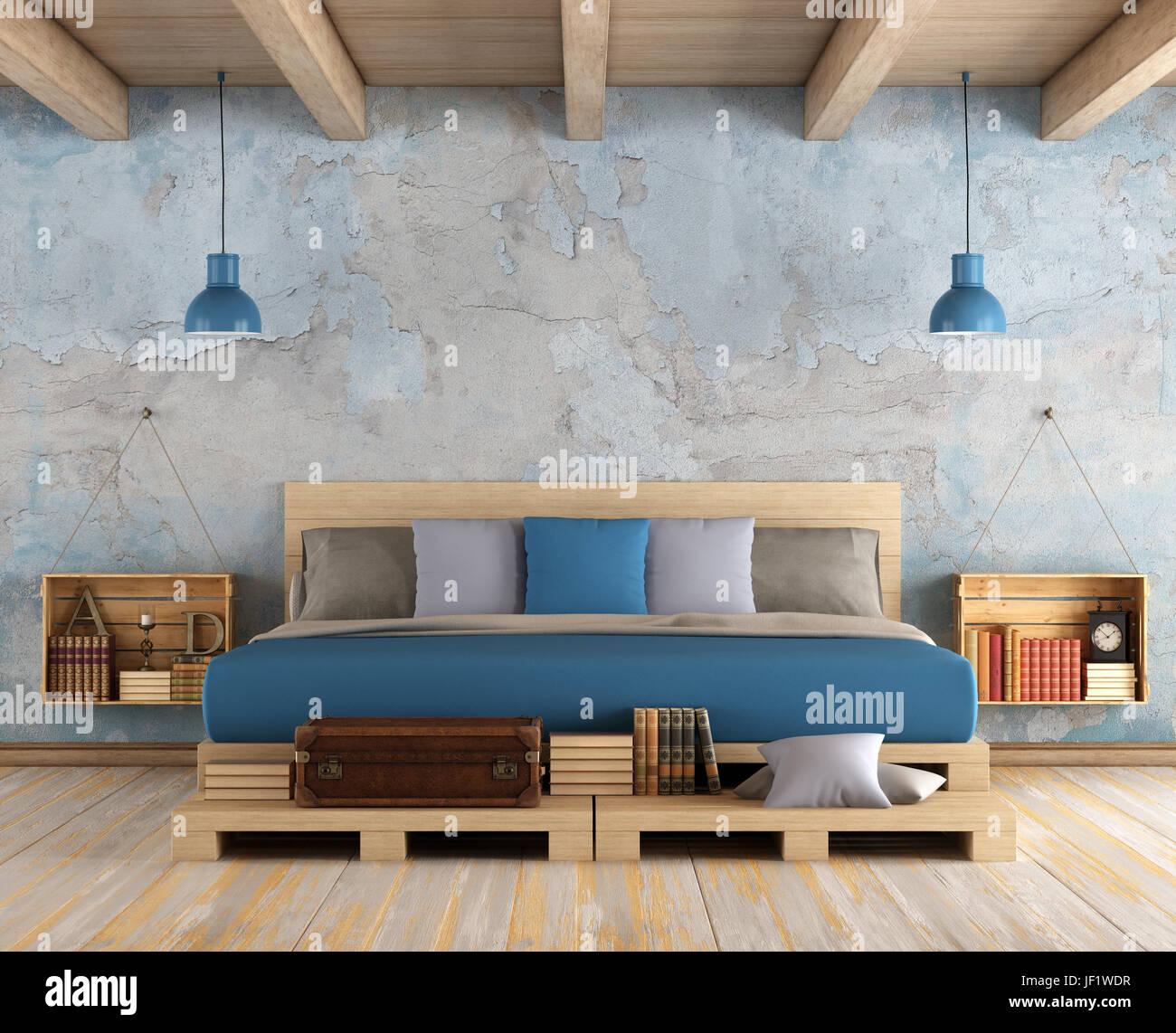 hauptschlafzimmer mit doppelbett paletten, alte wand- und holzdecke