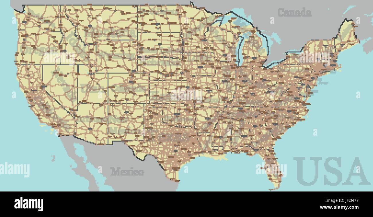 Vektor hoch detaillierte genaue, exakte Vereinigte Staaten von Amerika, amerikanische Straße, Autobahn-Karte Stockbild