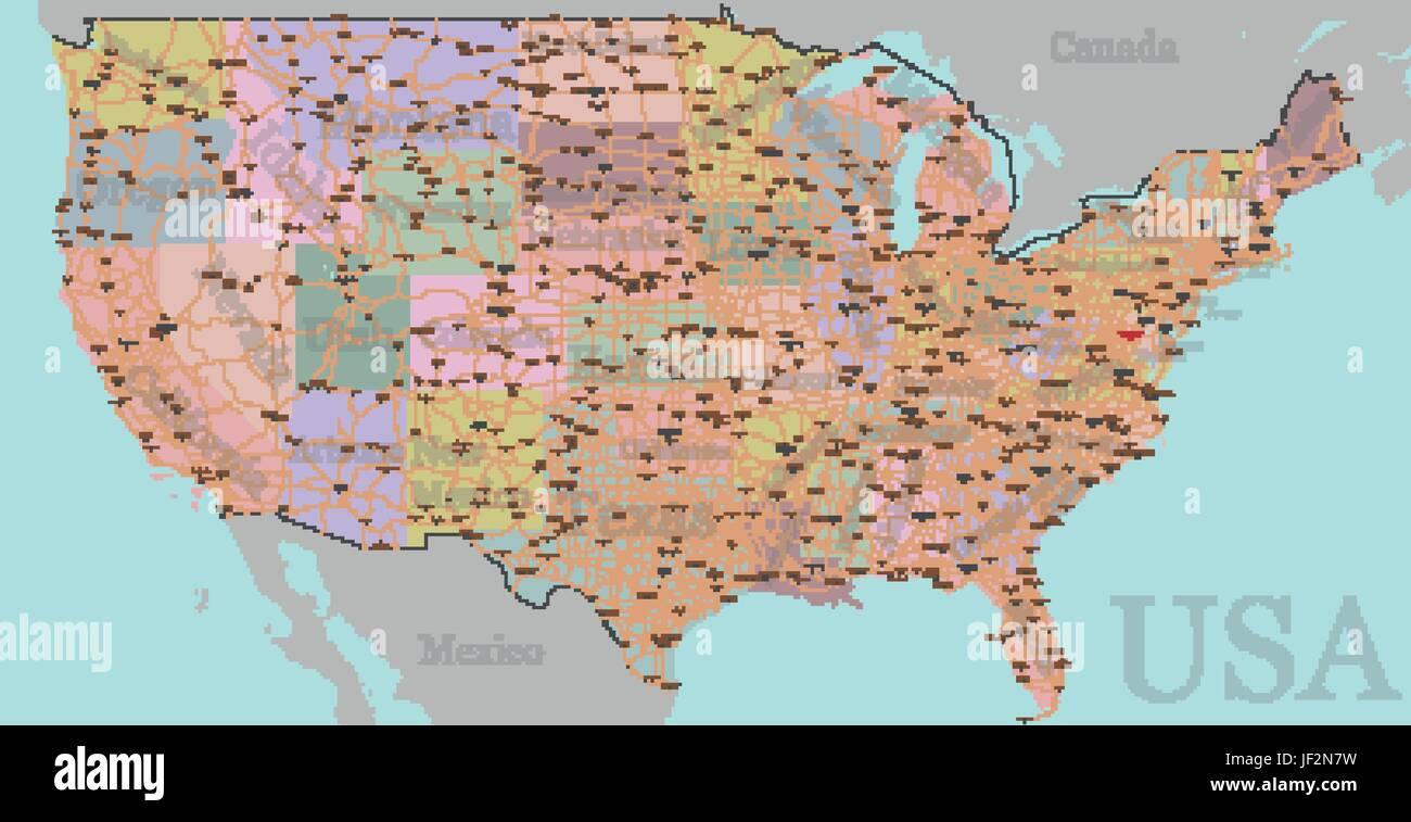 Hoch Detaillierte Genaue Usa Vektorkarte Amerikanischen Strasse