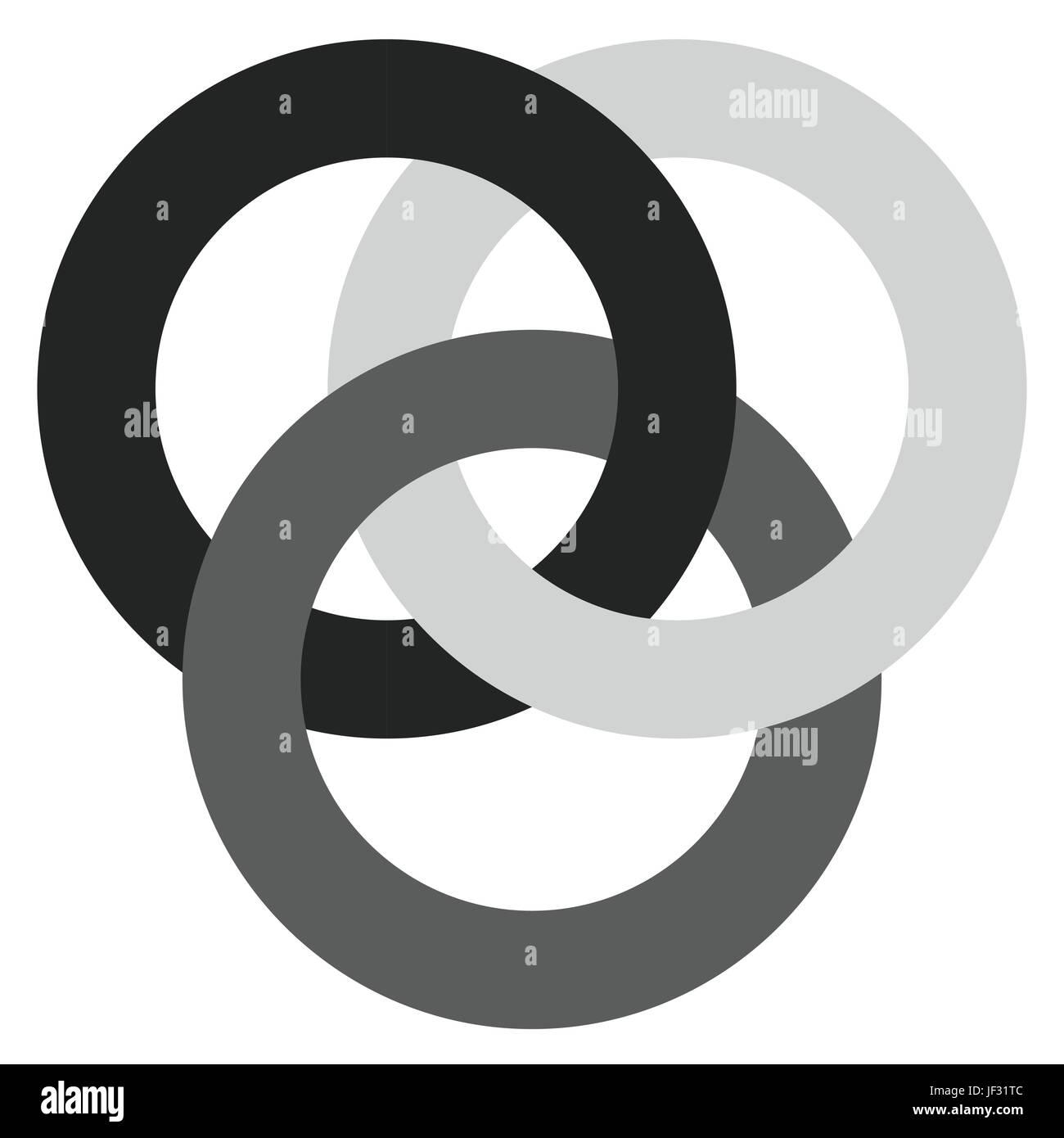 Symbol mit 3 ineinandergreifende Kreise. Ringe. Abstrakten Symbol ...