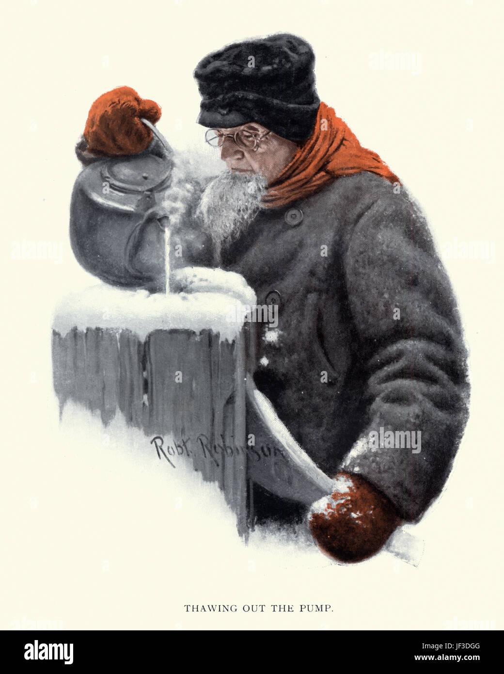 Greis, Auftauen von gefrorenem Wasserpumpe im Winter, c. 1913 Stockbild
