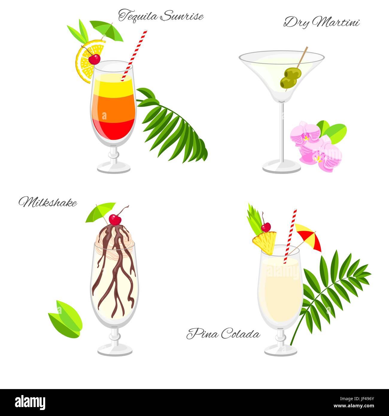 Endearing Beliebte Cocktails Ideas Of Reihe Von Beliebten Strand Party Vektor Cartoon-stil.