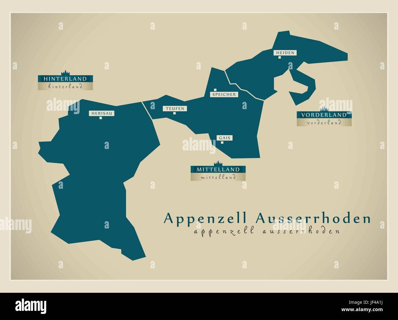 moderne Karte - Appenzell äußeren Rhodos ch Stockbild