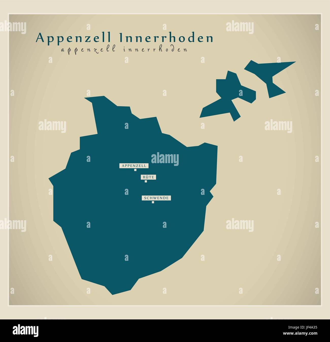 moderne Karte - Appenzell inner Rhodos ch Stockbild