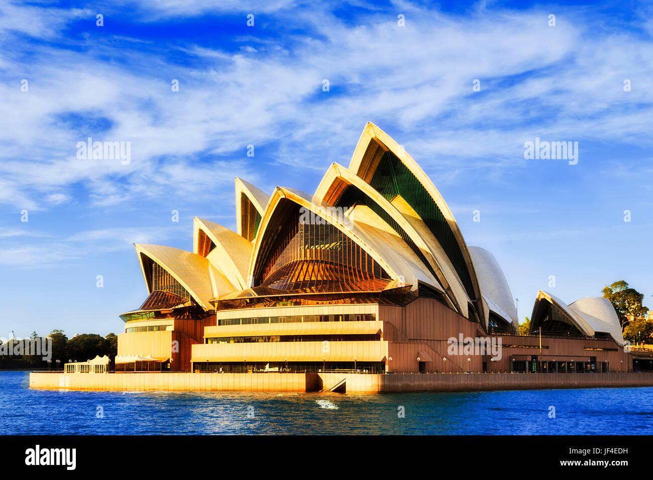 Sydney, Australien - 24. Juni 2017: Fassade des modernen zeitgenössischen Oper Theatergebäude auf Sydney Stockbild