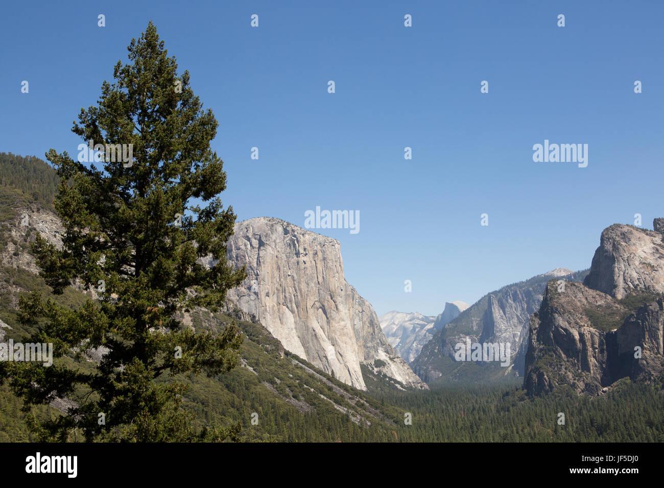 Ein Blick auf El Capitan und Half Dome Berg vom Tunnel View Point. Stockbild