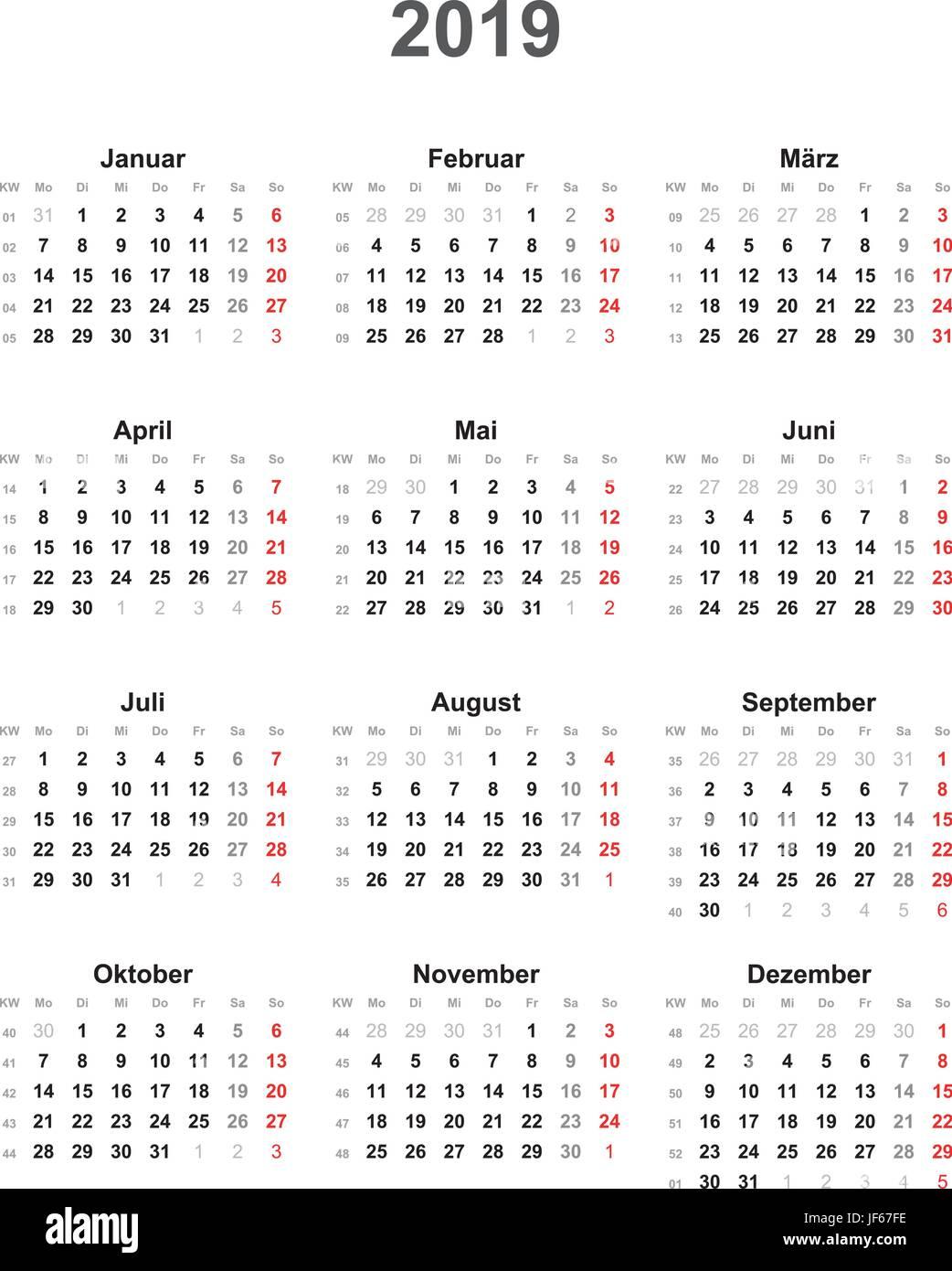 kalender 2019 universal au er an feiertagen vektor. Black Bedroom Furniture Sets. Home Design Ideas