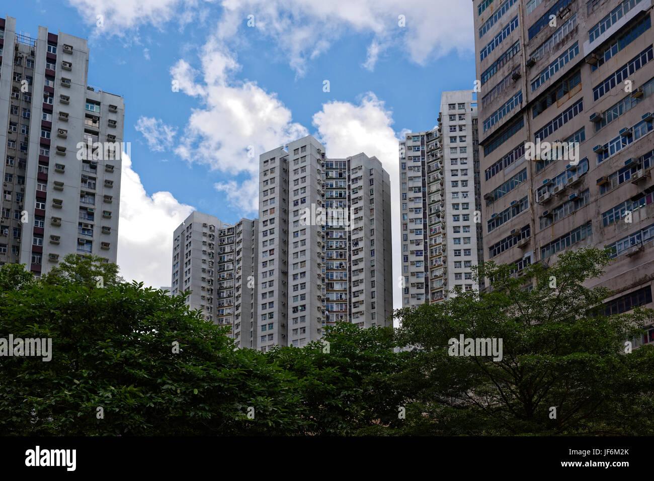 Die überfüllten Unterbringung von Hong Kong Stockfoto