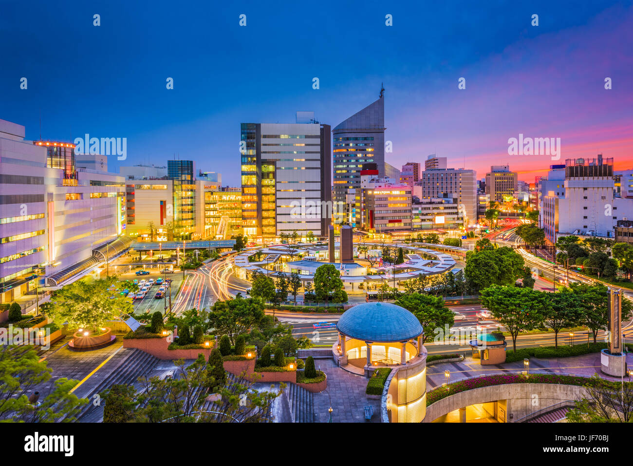 Hamamatsu City, Japan Skyline in der Dämmerung. Stockbild