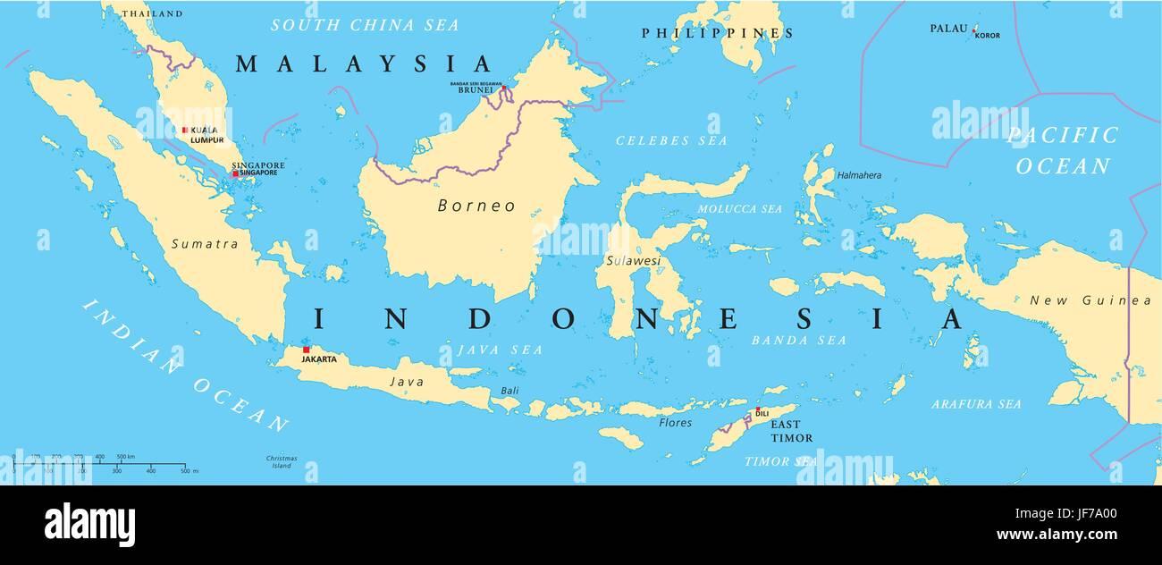Indonesien Malaysia Karte Atlas Weltkarte Politisch Bali