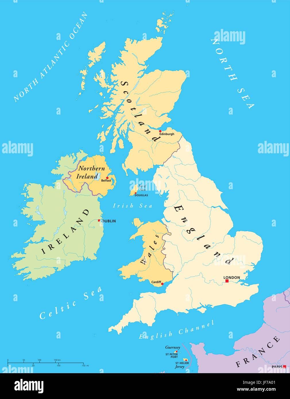 Inseln Irland British England Karte Atlas Weltkarte Reisen