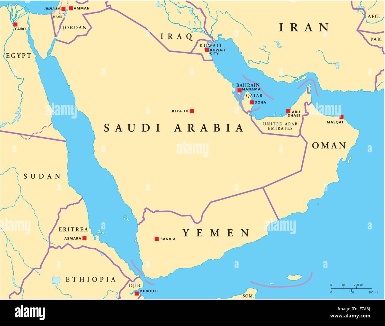 Doha Karte Welt.Arabien Halbinsel Arabischen Jemen Karte Atlas Karte