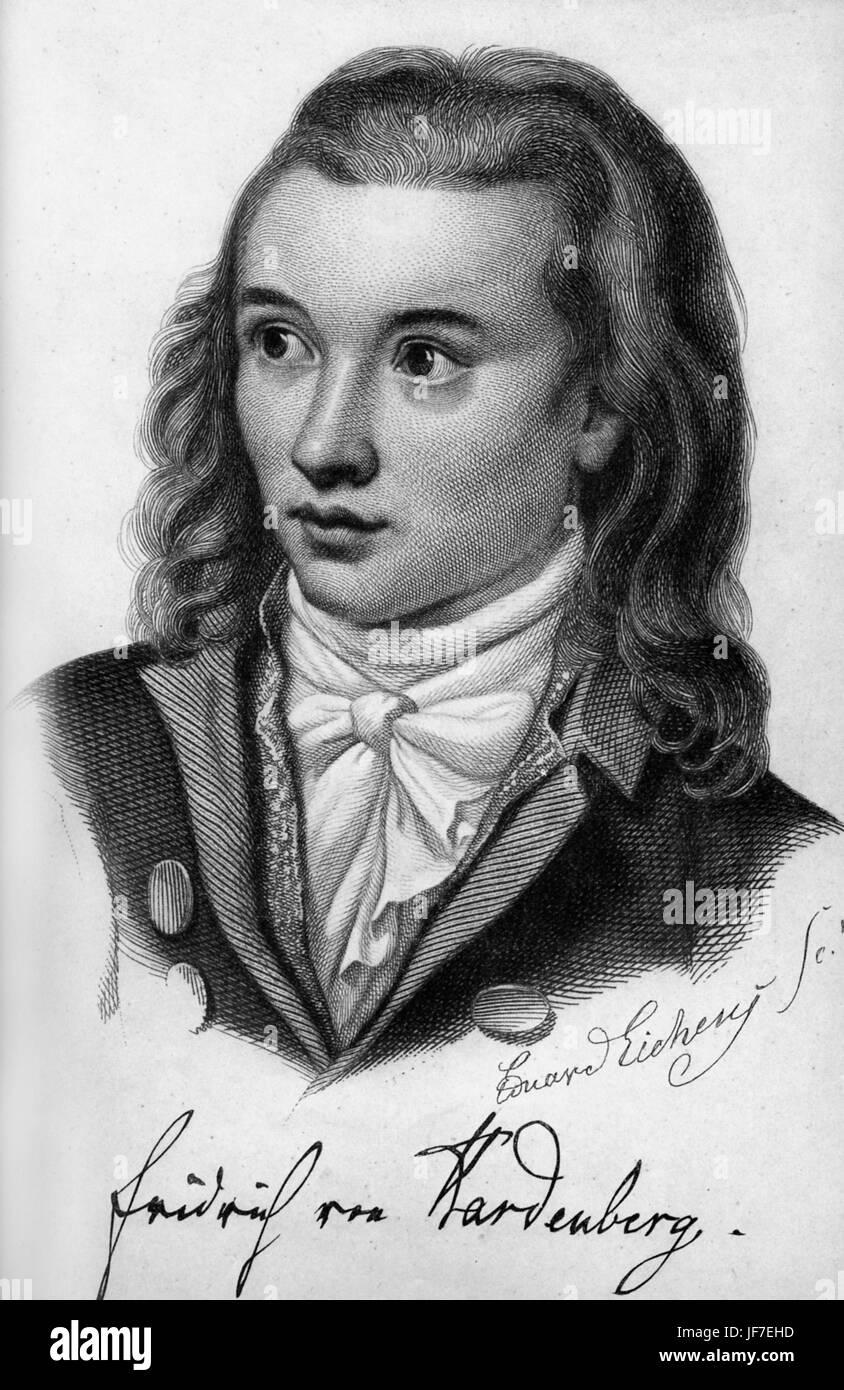 Novalis Pseudonym von Georg Philipp Friedrich Freiherr von Hardenberg.German Autor und Philosoph der frühen Stockbild