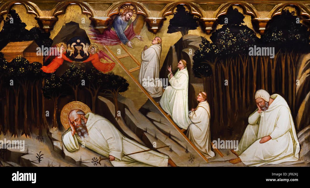 St. Romuald Receveis die Regel des Heiligen Benedikt, der Traum vom St. Romuald C 1400 Pittore Pisano Italien Stockbild