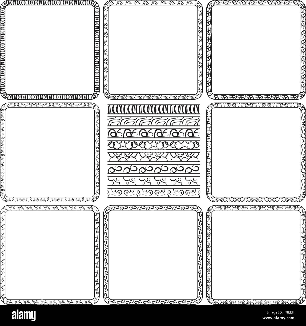 Set Isolated Vintage Borders Vector Stockfotos & Set Isolated ...