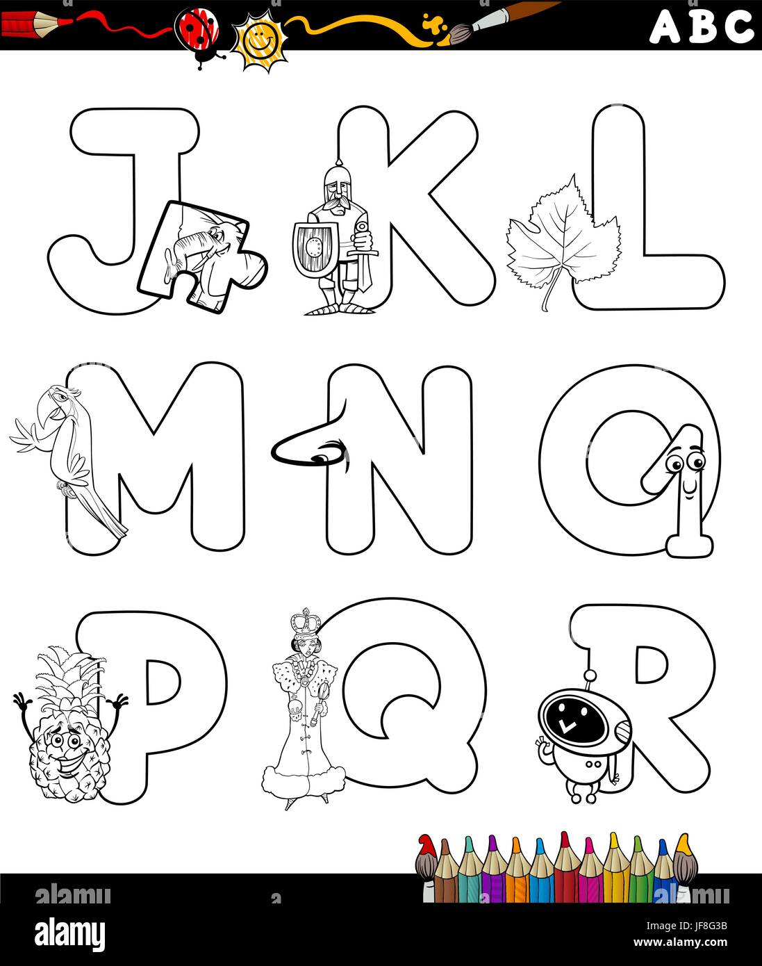 Cartoon-Alphabet-Malvorlagen Stock-Vektorgrafik - Alamy