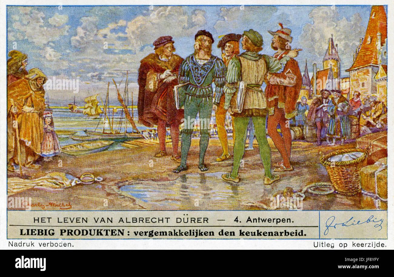Leben von Albrecht Dürer (21 Mai 1471 – 6 April 1528). Reisen in Antwerpen und den Niederlanden. Liebig-Sammler Stockfoto