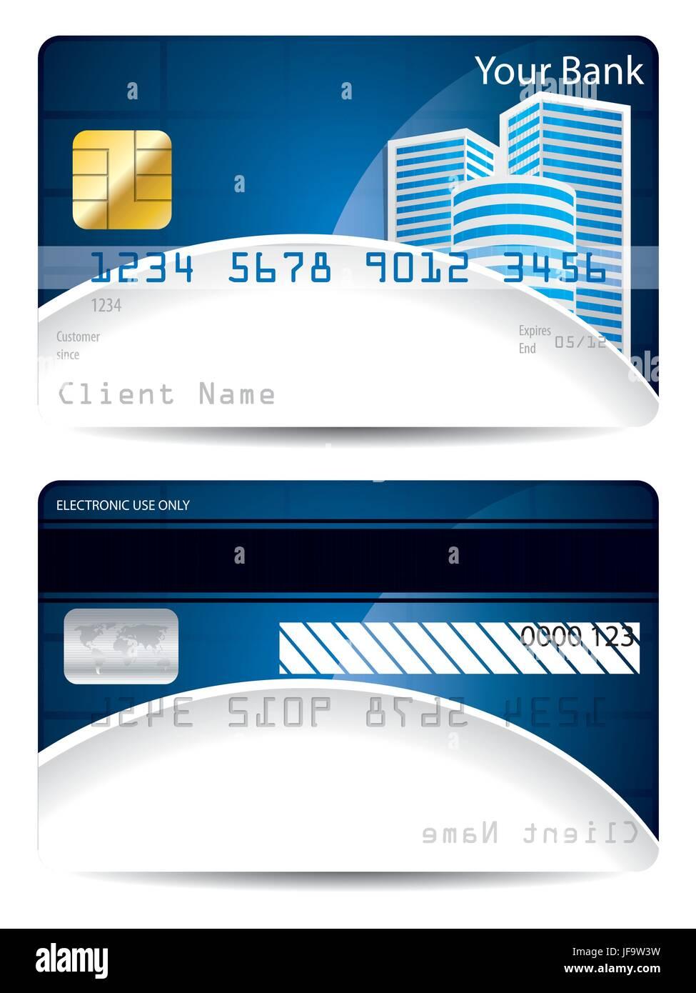 Kreditkarten-Vorlage in blau weiß mit Wolkenkratzern Vektor ...