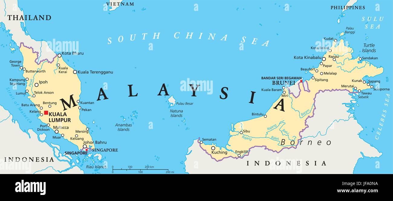 Politische Karte Von Malaysia Vektor Abbildung Bild 147122902
