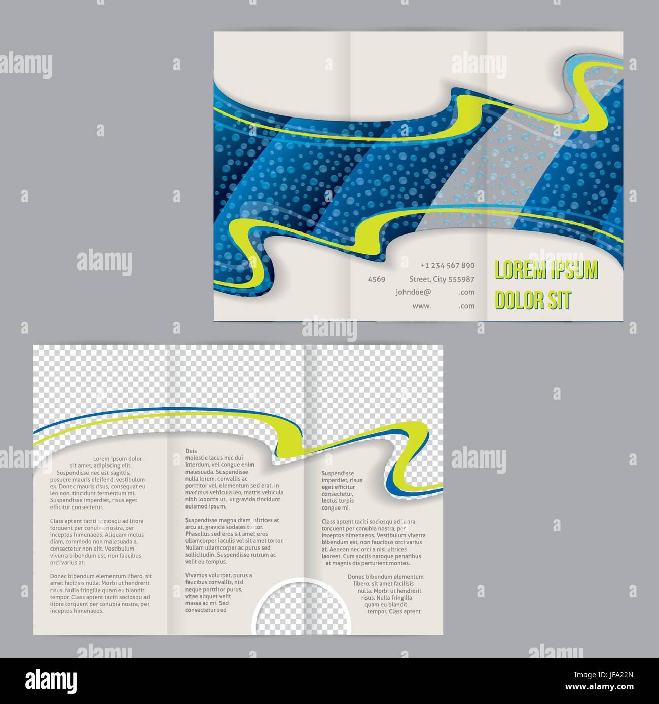 Tri-Fold Flyer Broschüre Vorlage Wassertropfen Bild Vektor Abbildung ...