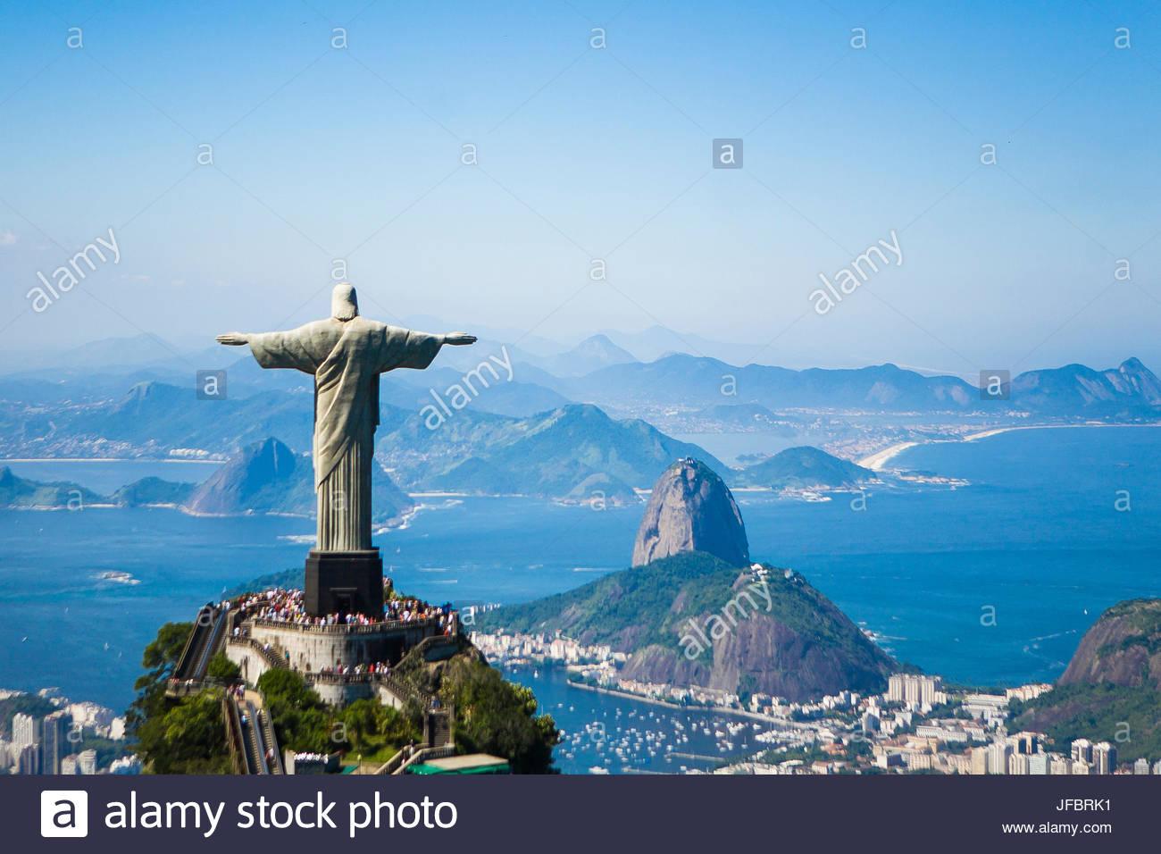 Luftaufnahme Des Erlösers Christus Statue Mit Blick Auf Rio De