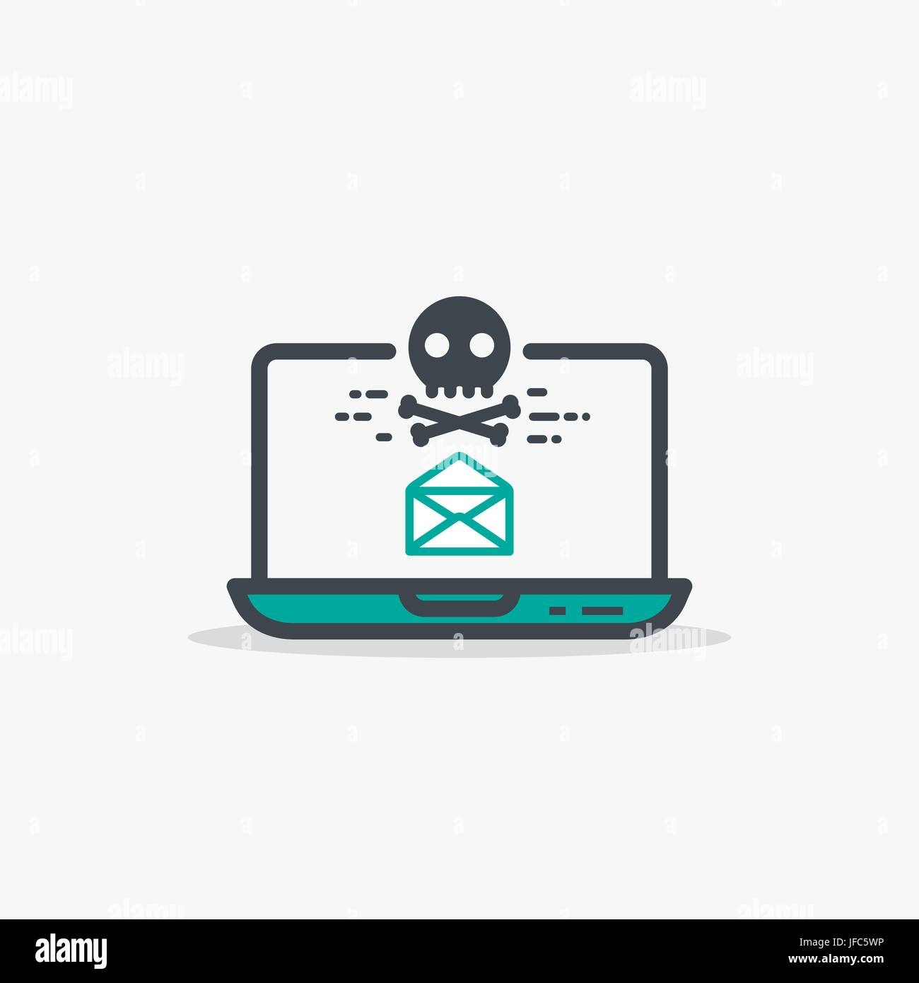 Geöffnete e-Mail und Malware laptop Stockbild