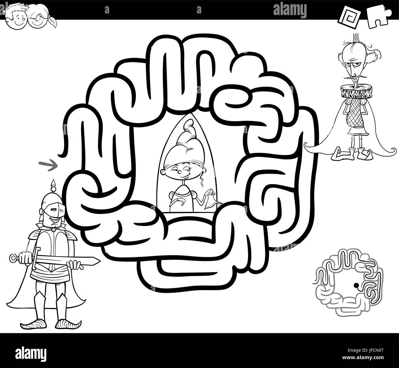 Schwarz Weiß Cartoon Illustration Der Bildung Irrgarten