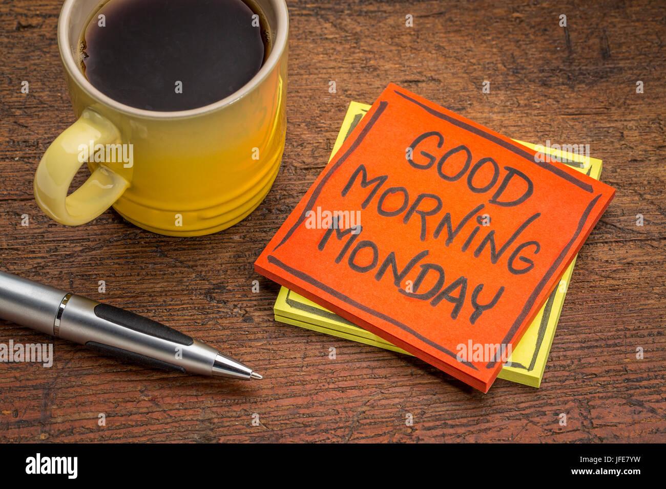 Tasse Kaffee Mit Guten Morgen Notiz Stockfotos Tasse