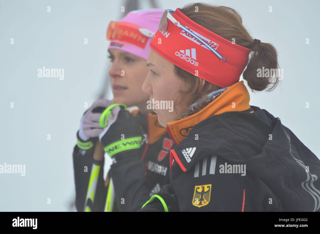 Wintersport, Biathlon, Weltmeisterschaft, Antholz, Biathleten, GER Stockbild