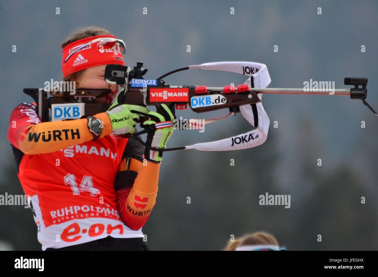 Wintersport, Biathlon, Weltmeisterschaft, Ruhpolding, schießen stehend, Laura Dahlmeier, GER Stockbild
