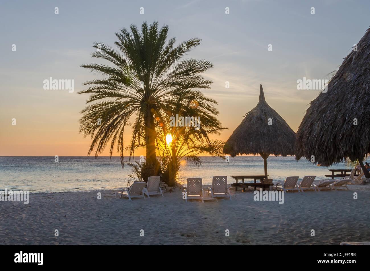 Strand Sonnenuntergang in Curacao eine karibische Insel Stockbild