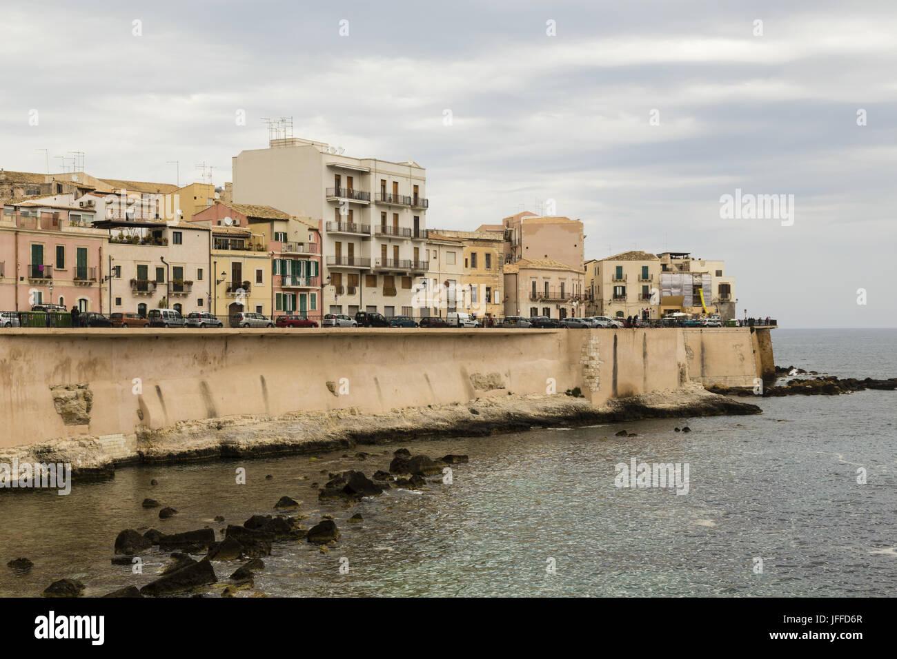 Altstadt von Syrakus, Sizilien, Italien Stockbild