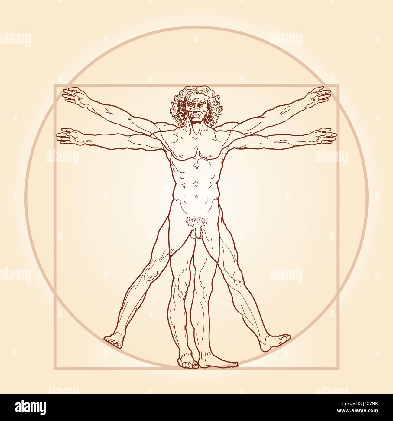 Vitruvian Man Drawing Stockfotos & Vitruvian Man Drawing Bilder - Alamy