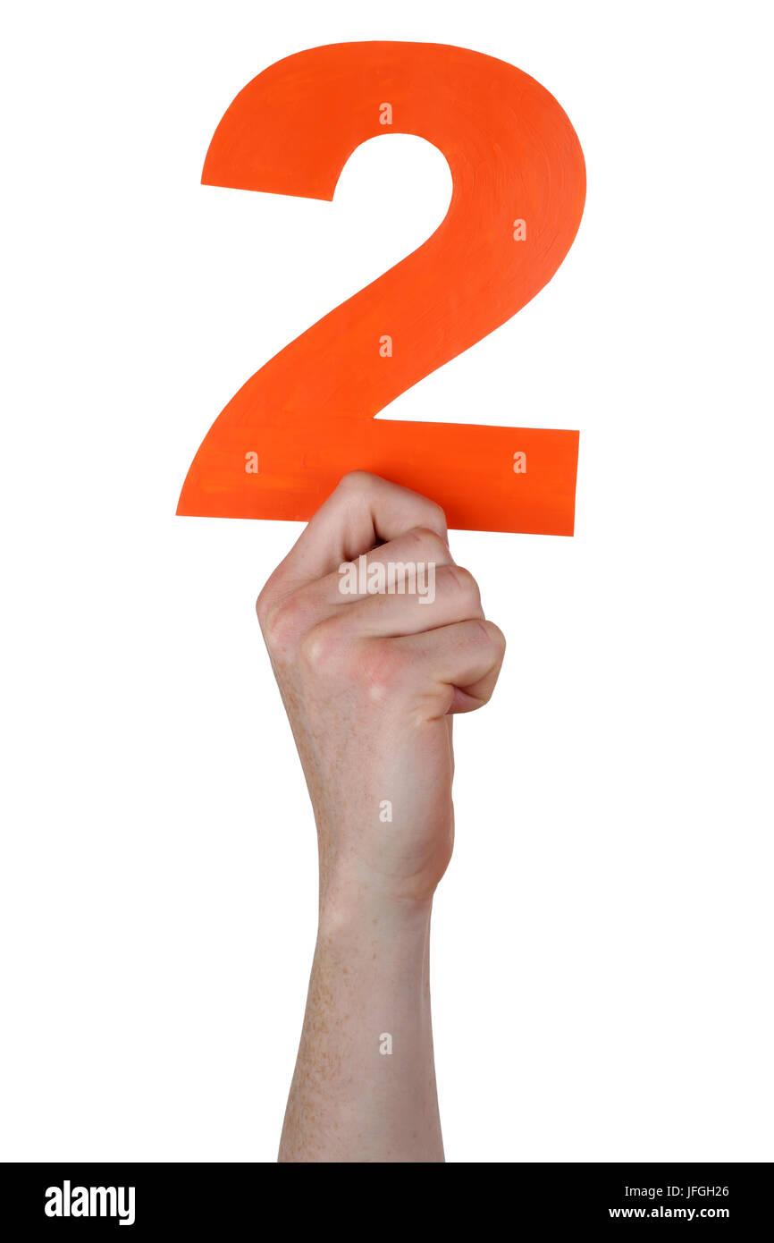 Hand halten Zahl 2 Stockbild
