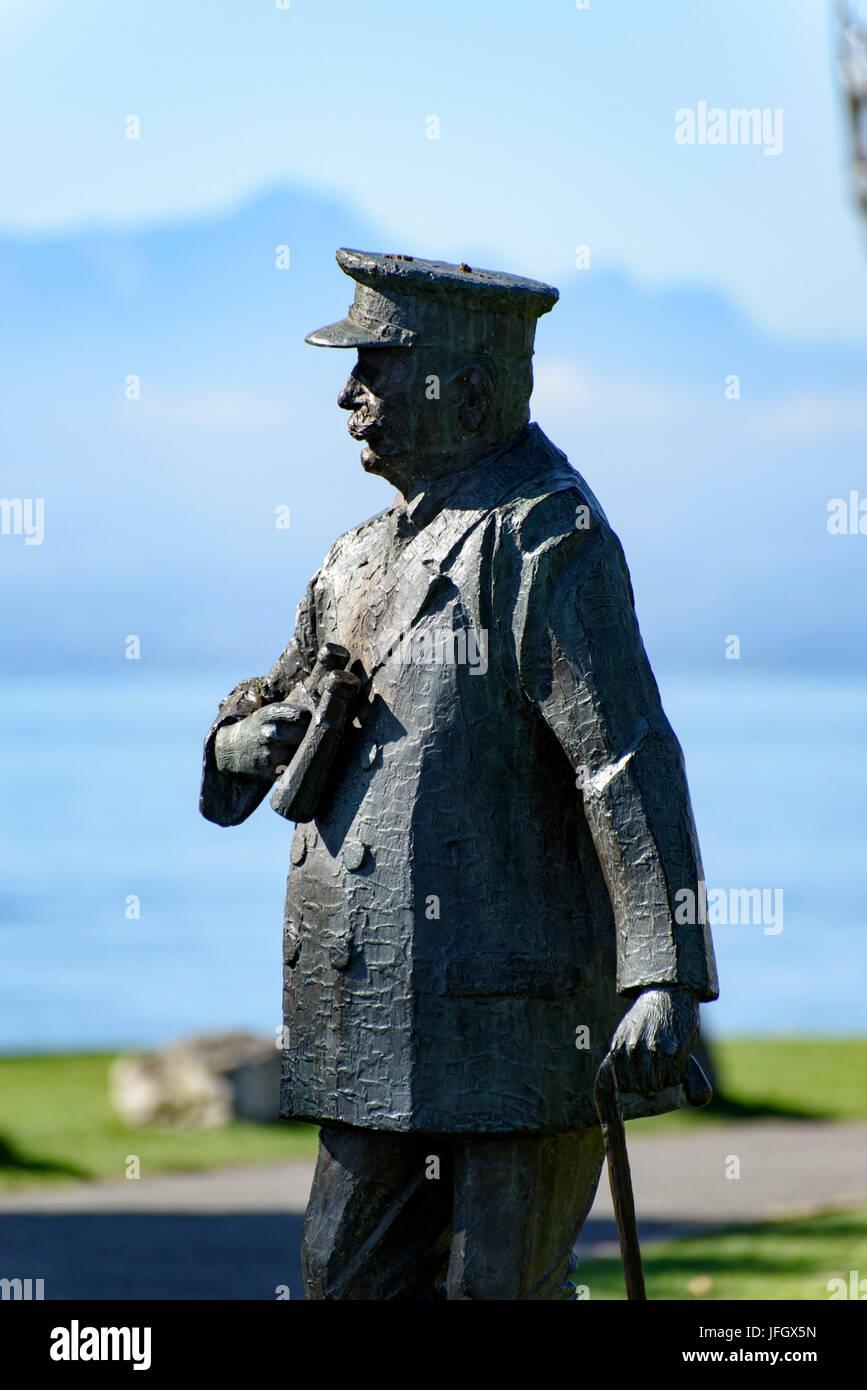 Bronze Figur Ferdinand Graf Von Zeppelin Stadt Garten