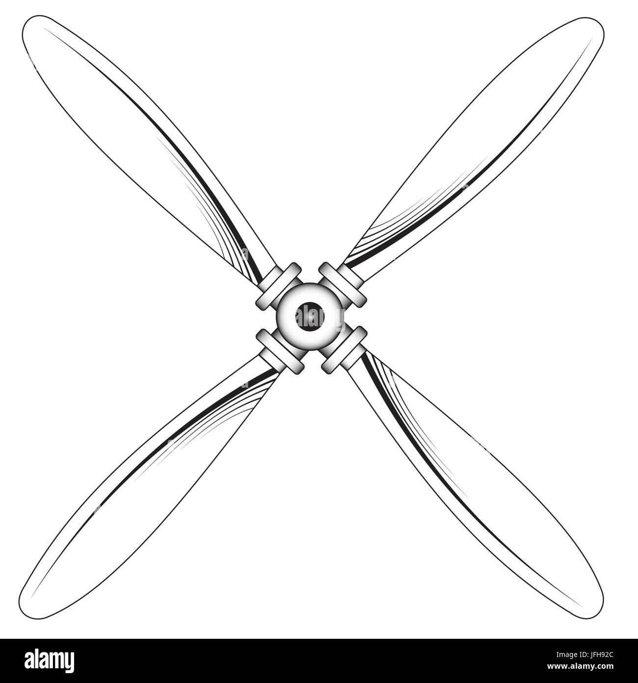 Propeller mit vier Klingen Stockbild