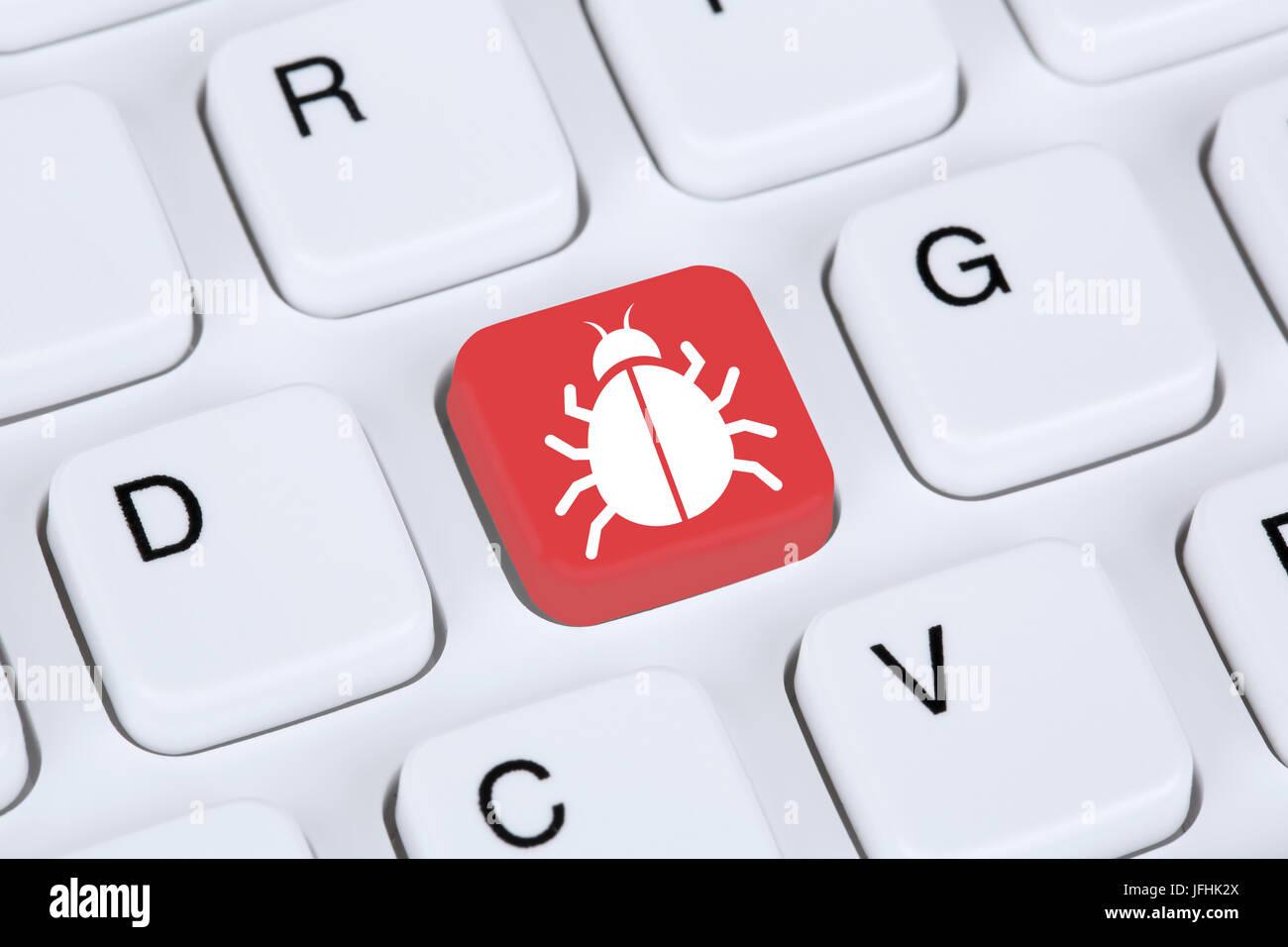 Computer Virus oder Trojaner Sicherheit im Internet surfen Stockbild
