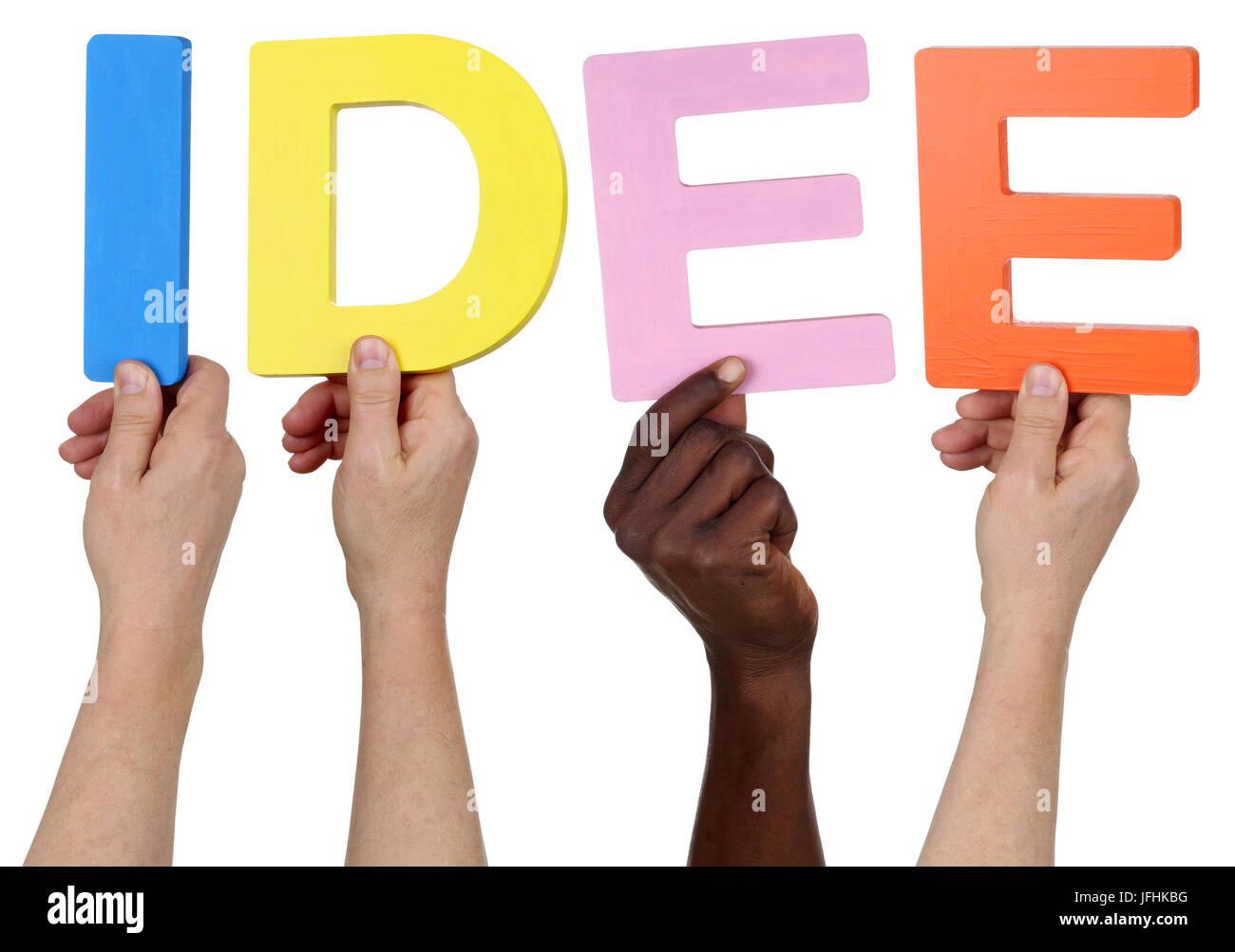 Multikulturell Menschen Gruppe halten das Wort Idee Stockbild