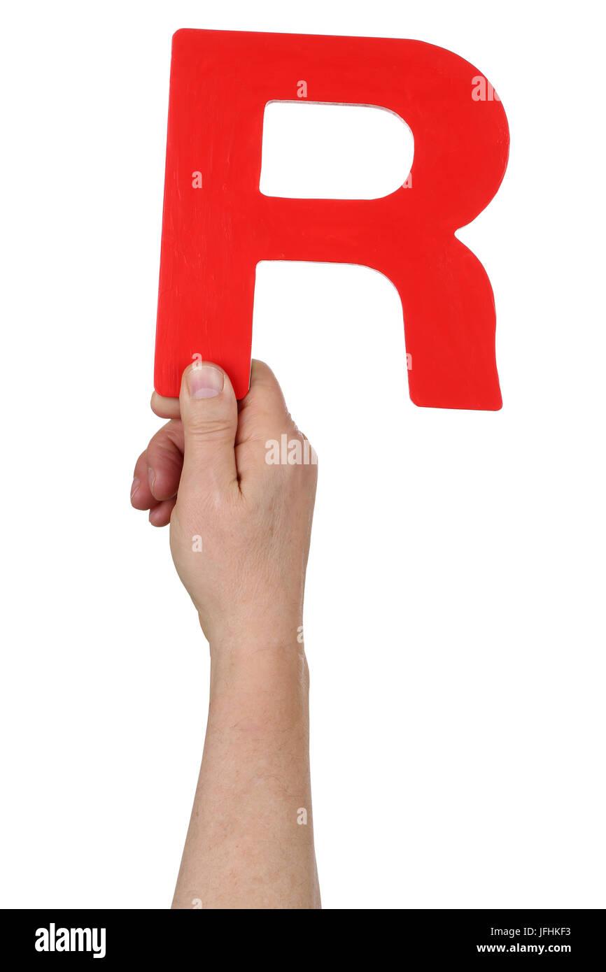 Hand halten Buchstabe R aus Alphabet Stockbild