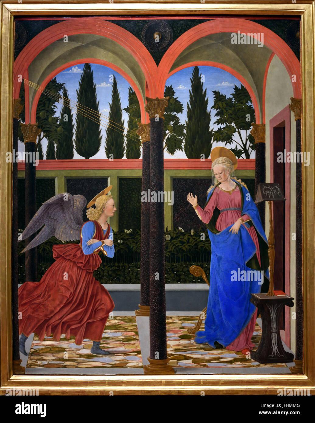 Verkündigung 1447 Alesso Baldovinetti (1425 ? 1499) war ein italienischer Renaissancemaler der frühen. Stockbild