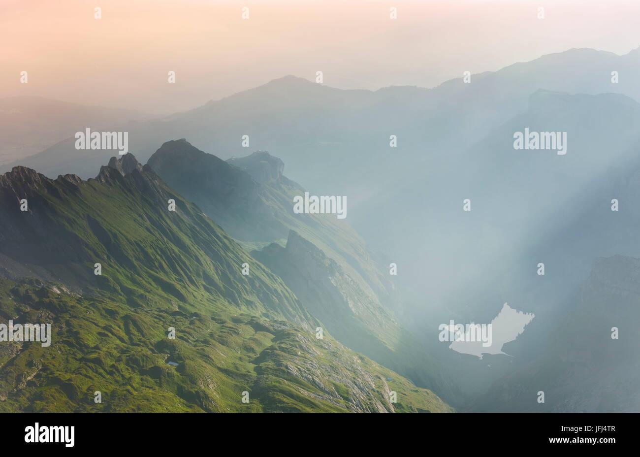 Morgen-Stimmung auf dem Säntis, Schweiz, Appenzell Stockbild
