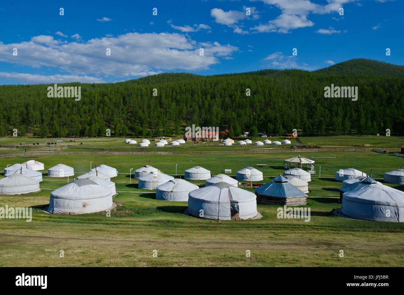 Mongolei, Zentralasien, Jurte Lager am Tsenkher, heiße Quellen Stockbild