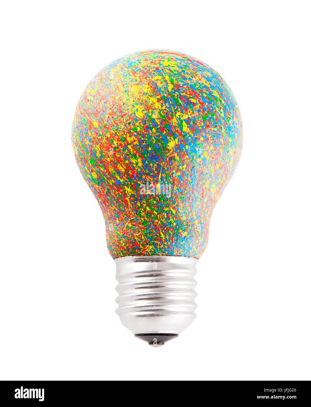 Bunt bemalte Lampe isoliert auf weiss mit Beschneidungspfad Stockbild