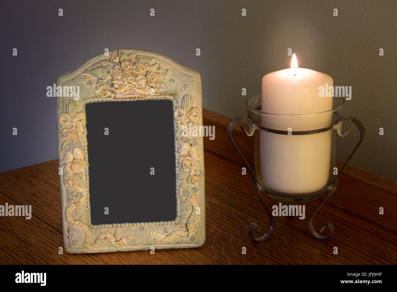 Candle And Photo Frame Stockfotos & Candle And Photo Frame Bilder ...