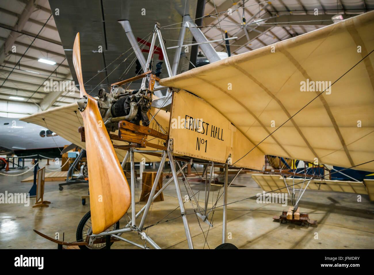 USA, Connecticut, Windsor Locks, New England Air Museum, Bleriot XI Eindecker, erste massenproduzierte Flugzeug Stockfoto