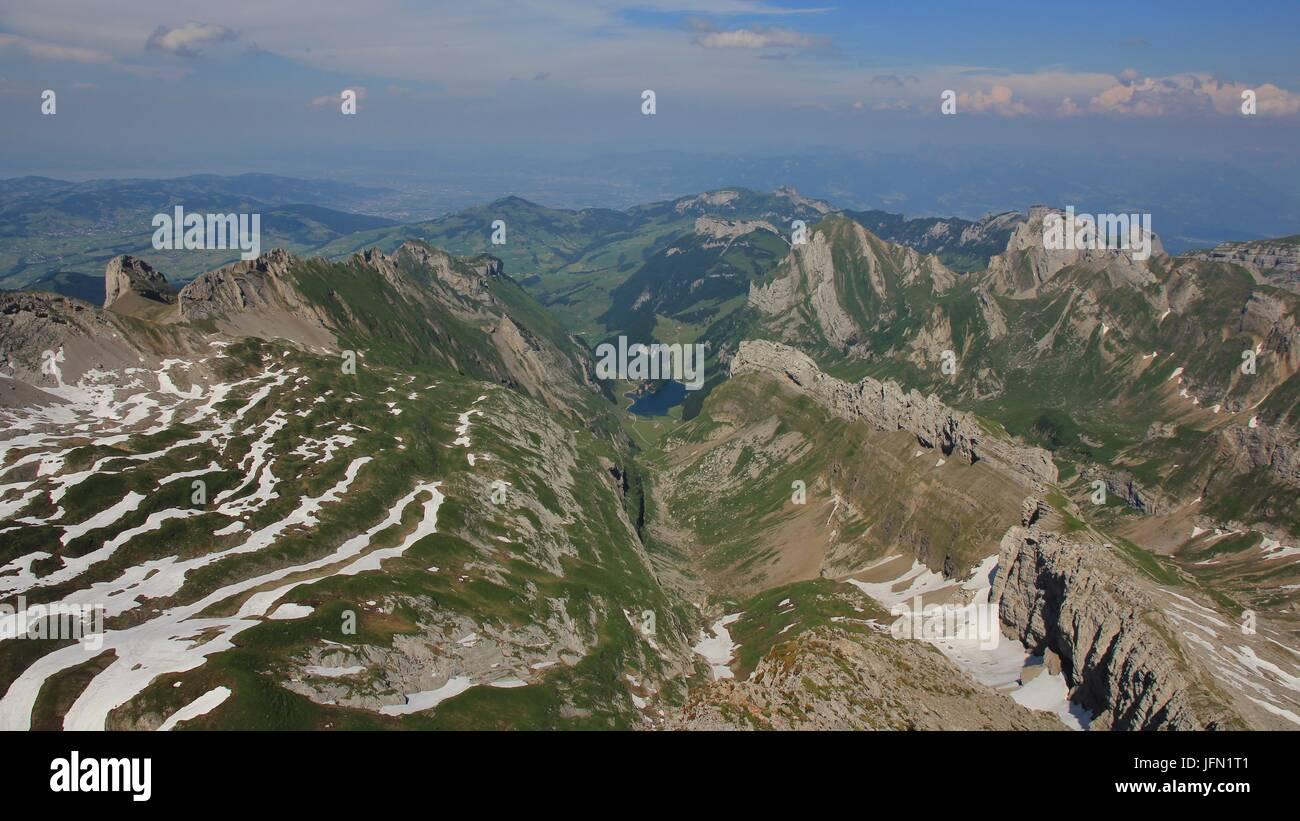 Blick vom Mount Santis in Richtung Appenzell. Stockbild
