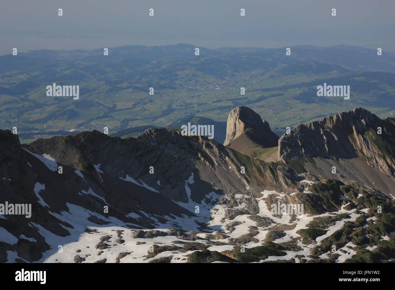 Felsen von Mount Santis, Kanton Appenzell gesehen. Stockbild