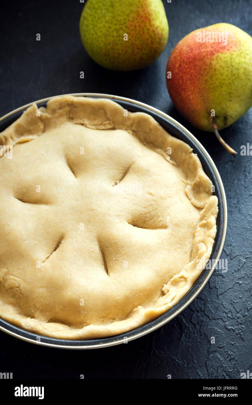 Birne Kuchen Kochen Ungebackene Murbeteig Kuchen Teig Fullung In
