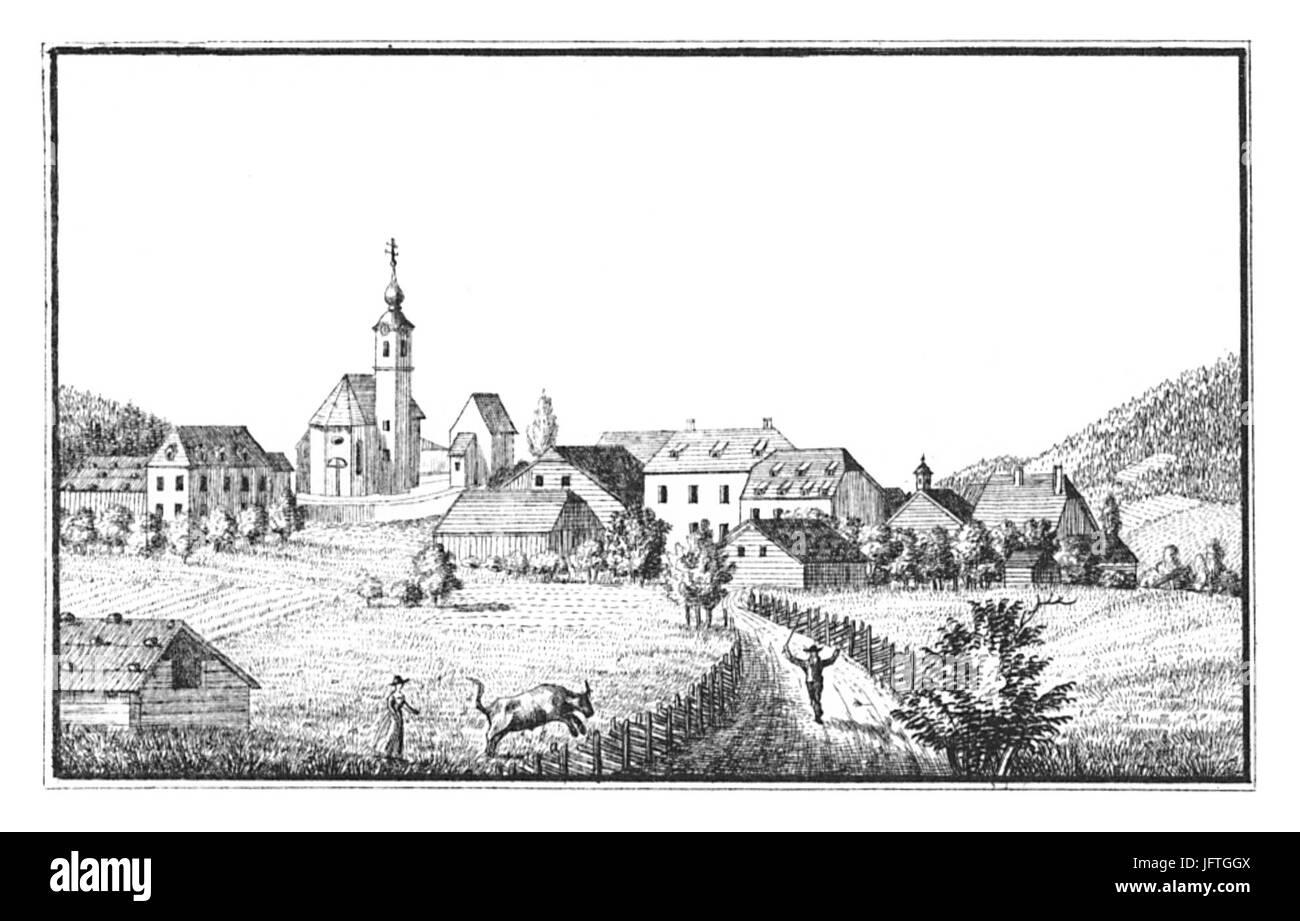126 Schloß Und Markt Haus Im Ennstal - Zeichnung von S. Kölbl - J.F.Kaiser Lithografirte Ansichten der Stockbild